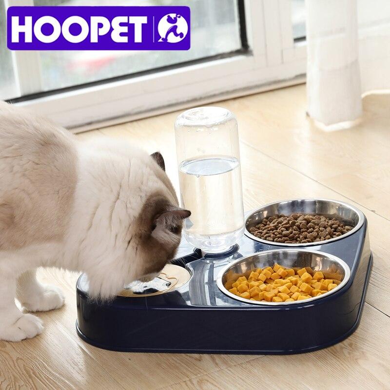 HOOPET Pet Bowl Cat doppie ciotole alimentatore d'acqua per alimenti con distributore automatico di acqua ciotole separate bagnate e asciutte per gatti cane tre ciotole 2