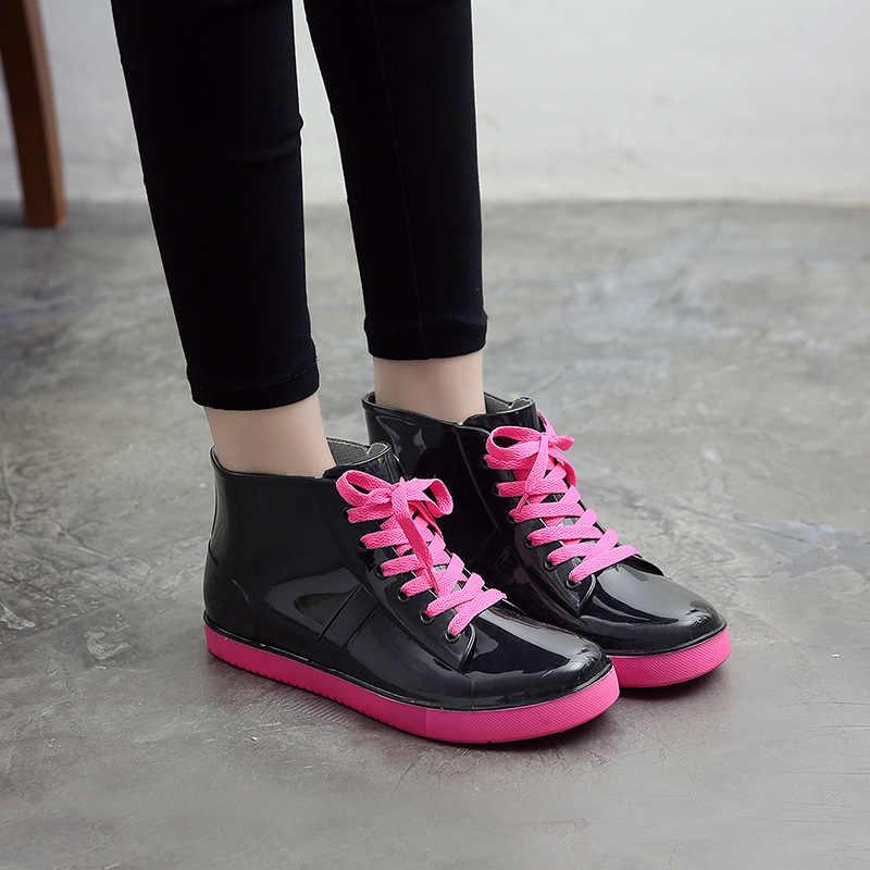 Botas de lluvia SWYIVY botas de tobillo para mujer 2019 botas cálidas para mujer zapatos de gelatina de arco iris zapatos transparentes impermeables goma antideslizante había botas