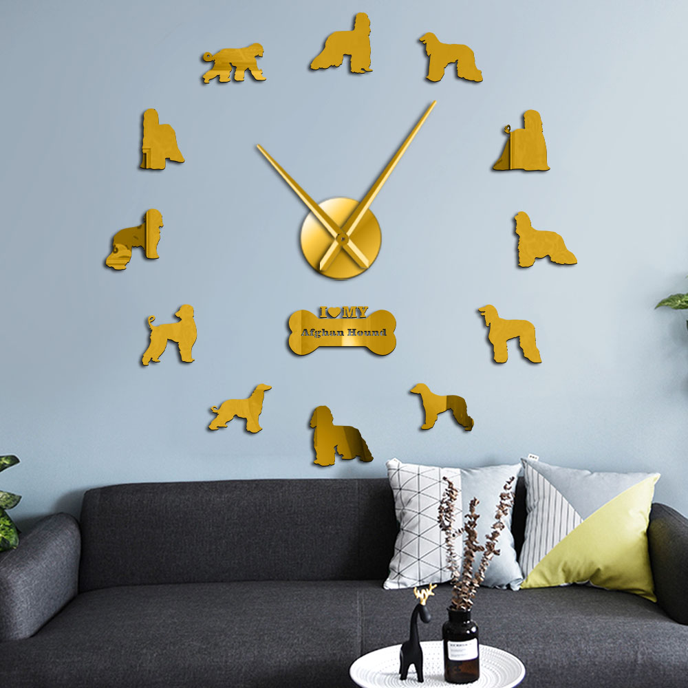 Afghan Hound Dog Breed Large Wall Art Stickers Puppy Dog Pets Decorative Big Wall Clock Silent Movement Hanging Clock Wall Watch