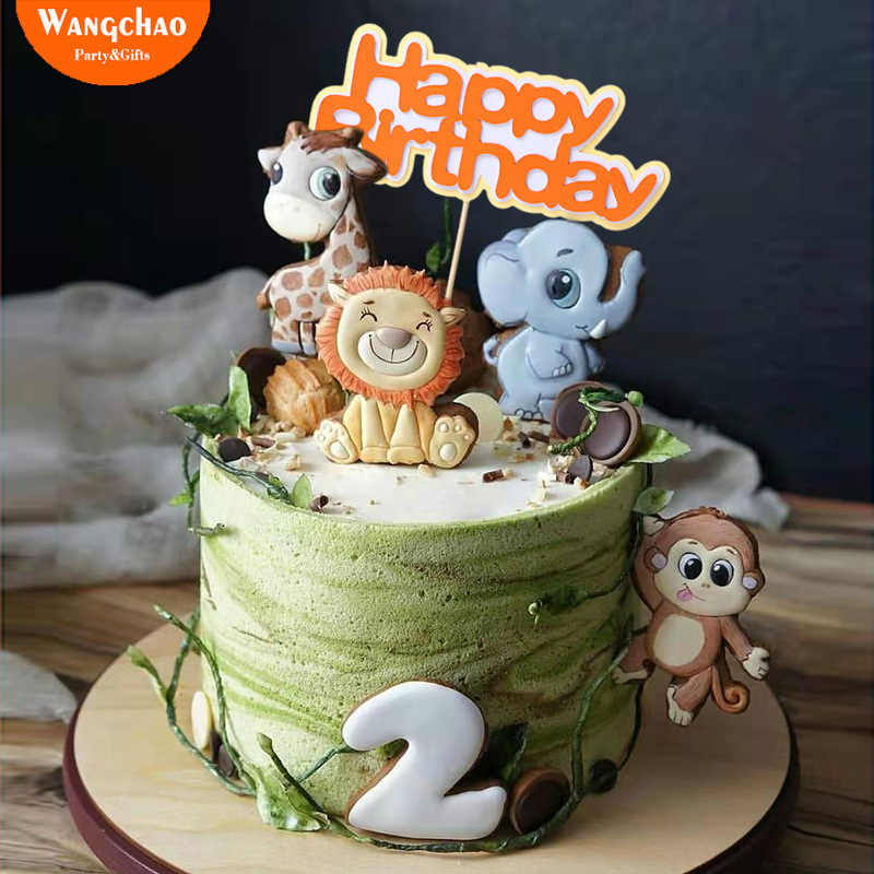 Marvelous Forest Jungle Animals Giraffe Lion Monkey Theme Cake Topper Safari Funny Birthday Cards Online Alyptdamsfinfo