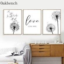Dandelion cartazes e impressões preto e branco pintura em tela cartaz minimalista amor parede fotos para sala de estar decoração casa