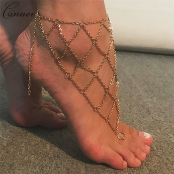 CANNER Exaggerated Hollow Mesh Chains Anklets for Women Gold Color Mesh Chains Leg Bracelet Barefoot Sandals Foot Jewelry Q40 3