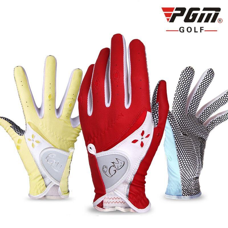 Luvas de Golfe Wearable de Golfe Mulheres Microfibra Senhoras Esquerda – Mão Direita Elástico Slip-resistente Anti-derrapagem Respirável Luvas Pgm