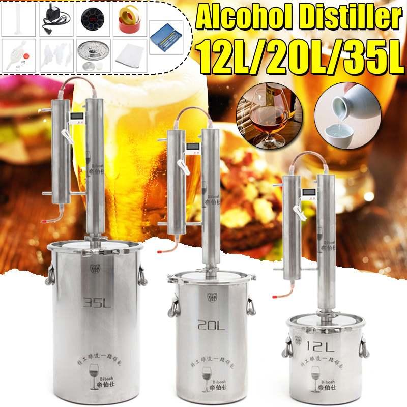 12/20/35L Distiller Moonshine alkol paslanmaz bakır DIY ev su şarap uçucu yağ bira seti + Comprises bira accessori