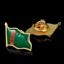 Turkmenistan Country Flag Waving 3D Lapel Hat Cap Tie Pin Badge Brooch Pins Patriotism Pride 5pcs estonia estonian country flag lapel clothes hat cap tie pin badge brooch accessories