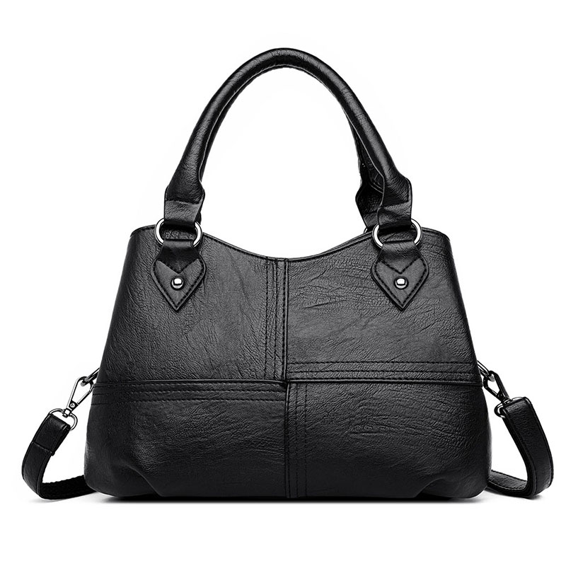 Women's Bag Genuine Leather 2020 Fashion Black Shopping Bag For Women Pommax Women's Handbag Leather Shoulder Bag