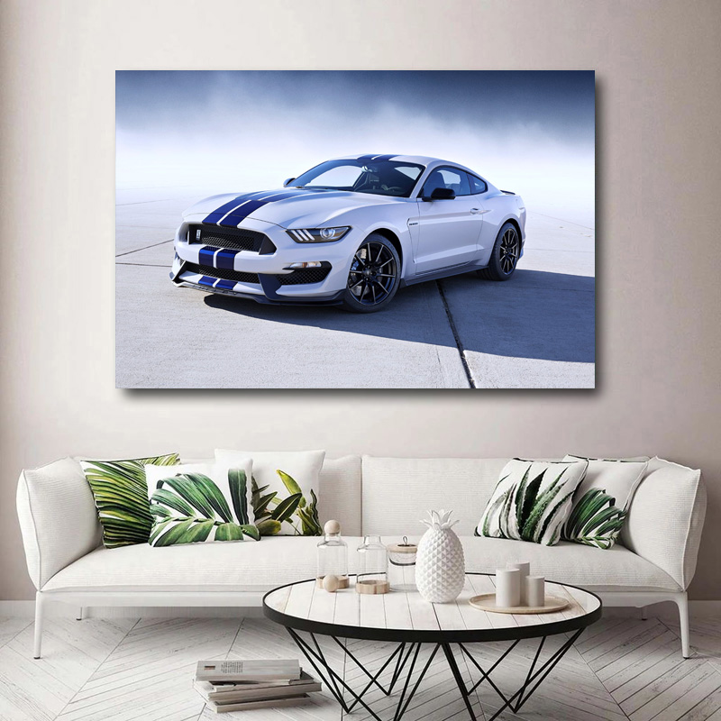 Ford Mustang Shelby GT350 Canvas White Giclee Print Unframed Home Decor Wall Art