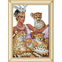 The indian and the leopards Chinese cross stitch kits Ecological cotton stamped printed 14 11CT DIY wedding decoration for home(China)