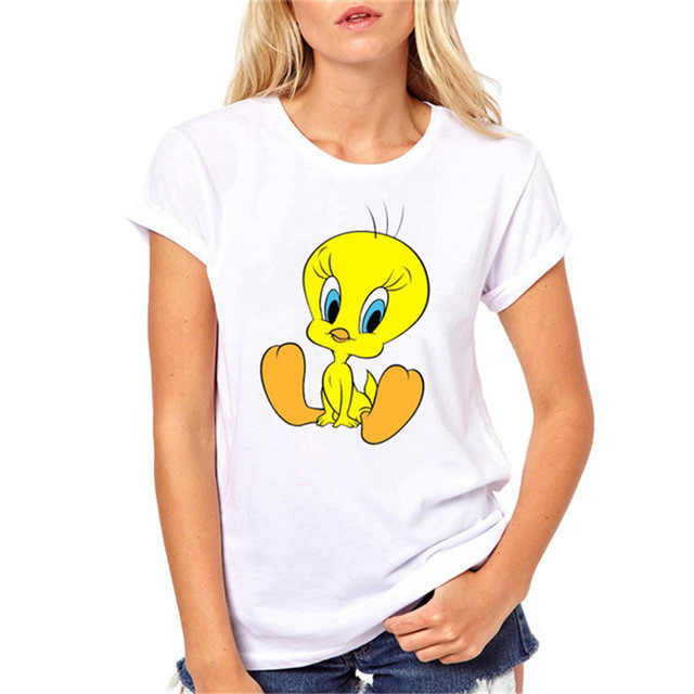 לוני טונס T חולצה harajuku kawaii טוויטי ציפור הדפסת מצחיק t חולצות נשים tumblr בגדי קיץ עליונה נשית לבנה tees