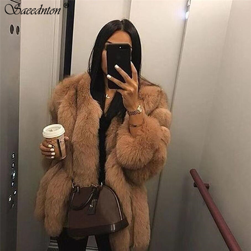 Fur Coat Woman 2019 Winter Brand New Women's Fashion O-neck Thicking Warm Faux Fur Coat Elegant Pink Outerwear Fake Fur Jacket