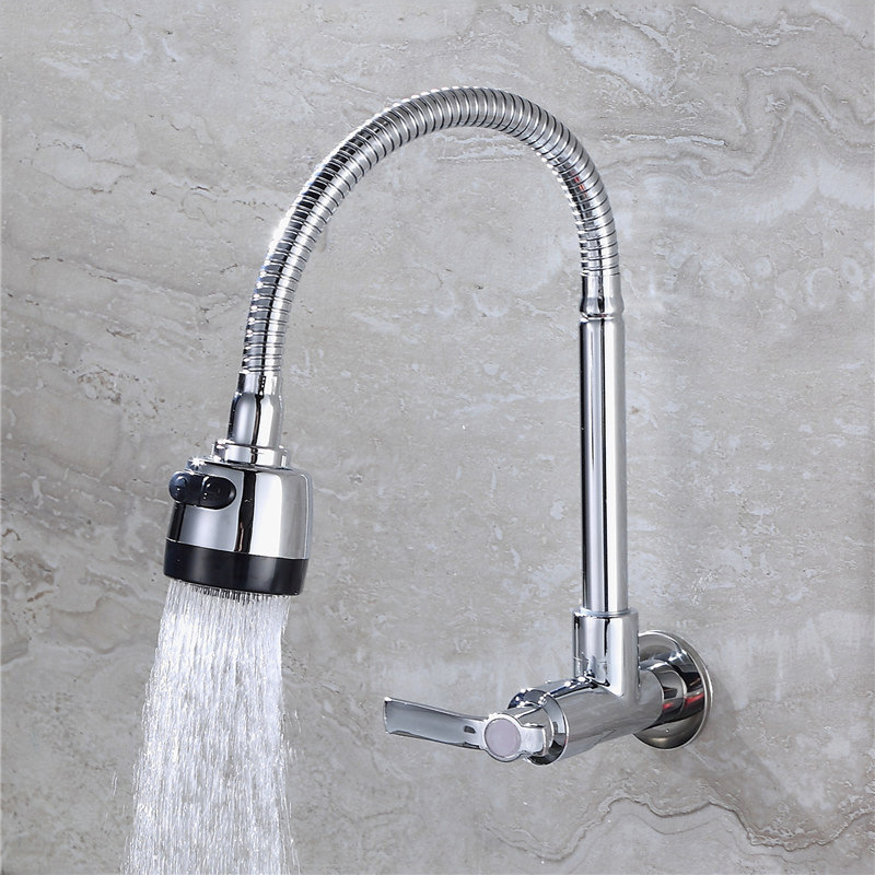 Kitchen Faucet Wall Mounted SinK Tap Rotatable Cold Water Tap Single Lever Flexible Pipe Household Bathroom Wash Basin Faucet