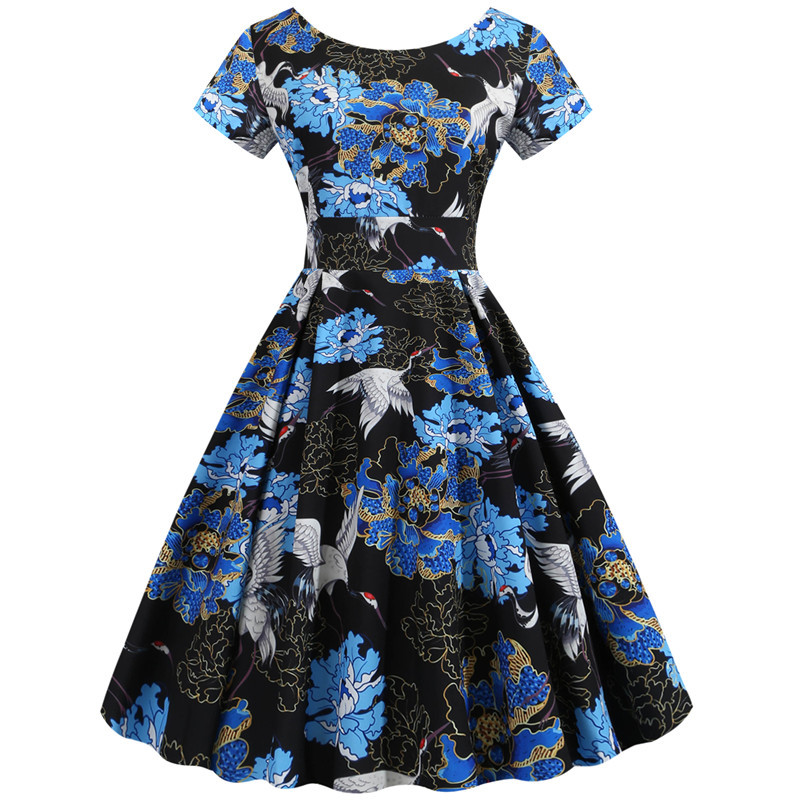 Summer Floral Print Elegant A-line Party Dress Women Slim White Short Sleeve Swing Pin up Vintage Dresses Plus Size Robe Femme 268