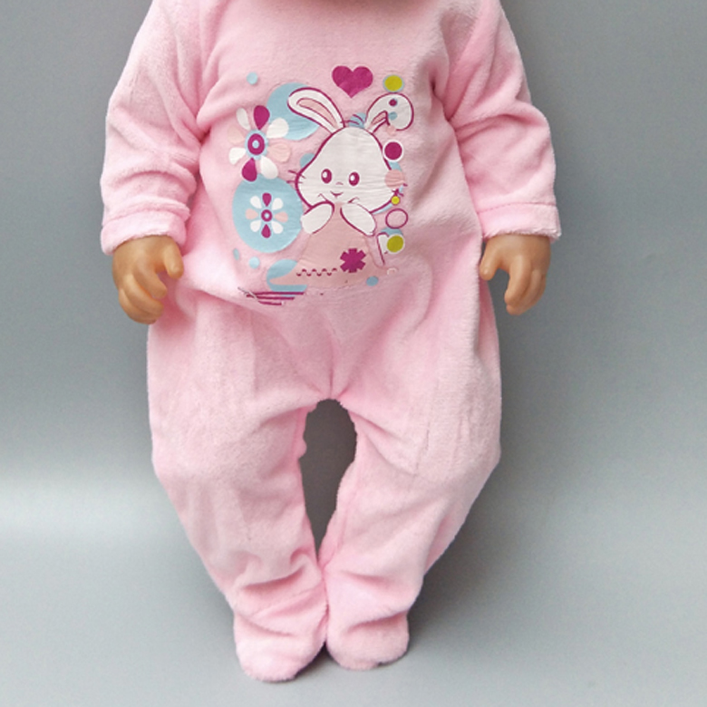 Doll Clothes For  Baby Dolls Pink Fur Winter Jumpsuit For 18