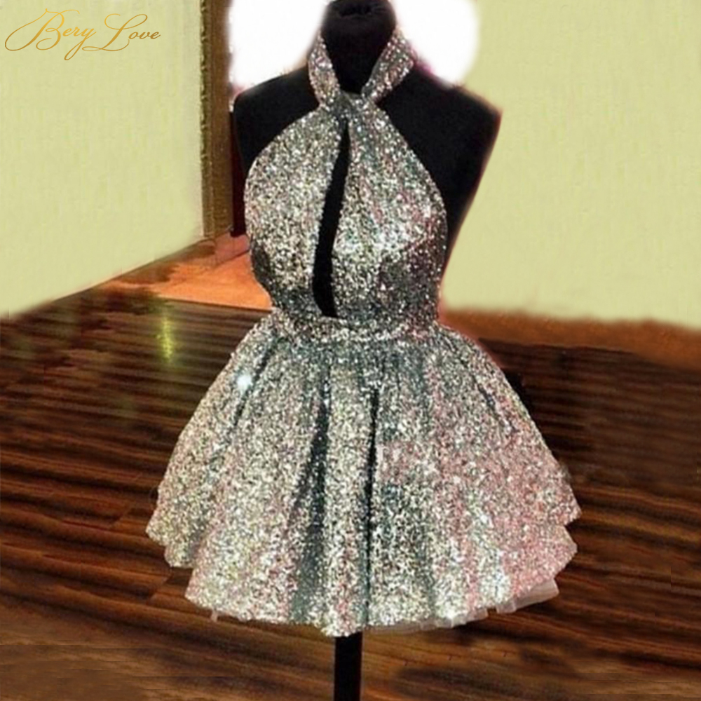 BeryLove Glitter Silver Homecoming Dress 2020 Halter NeckMini Young Girl Open Back Homecoming Gown A Line Short Graduation Dress