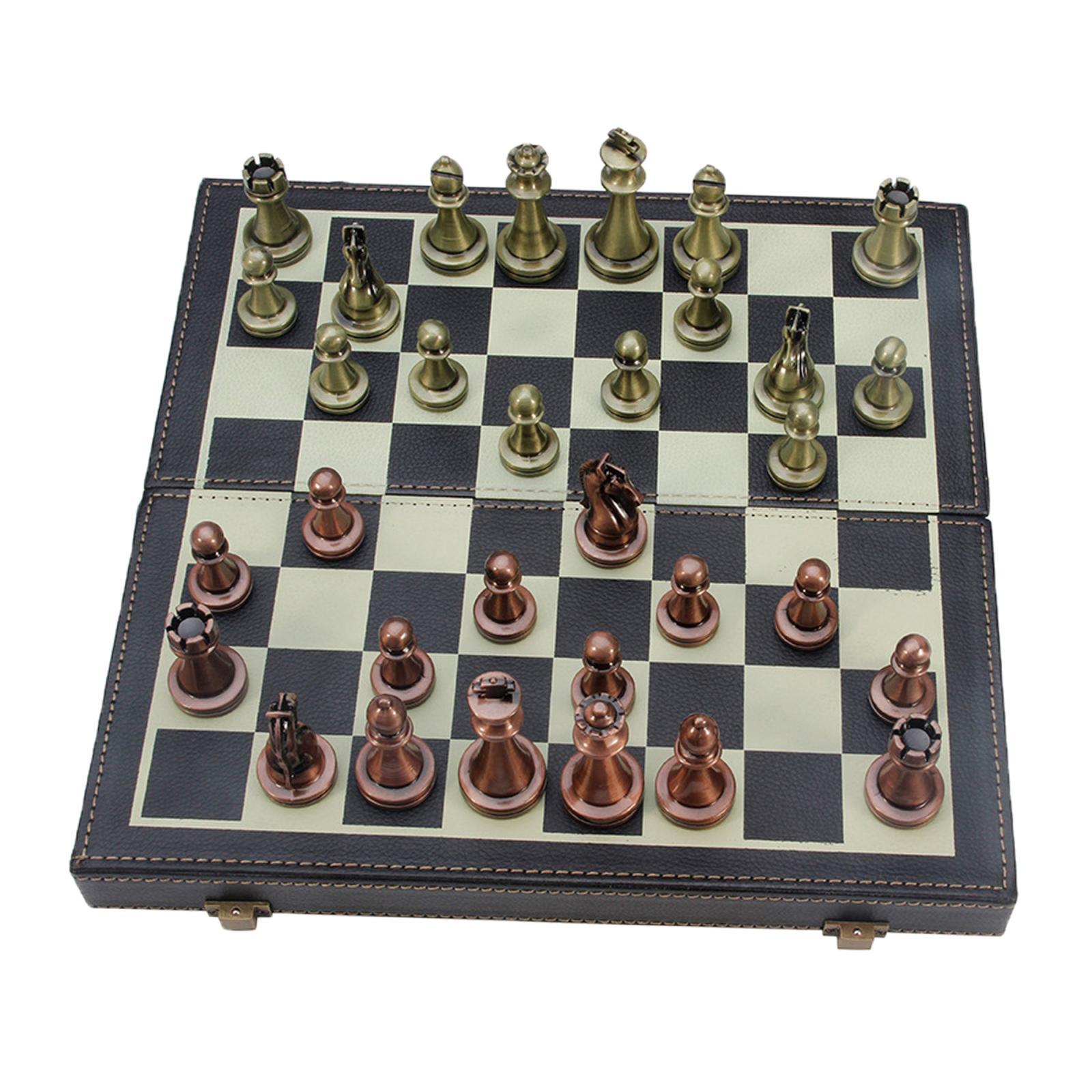 Tablero de ajedrez de Cuero y Madera Vintage plegable