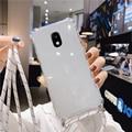 Прозрачный чехол со шнурком для Samsung Galaxy j8 j7 j6 j5 j4 j3 j2 pro plus prime core 2018 2017 2016 2015