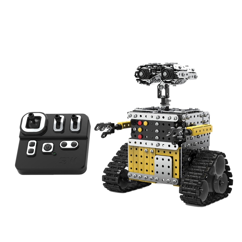728PCS Remote Control Blocks Assembly Robot 2.4G 10CH DIY Steel Smart Obstacle Avoidance Walking RC Robot Toy for Children