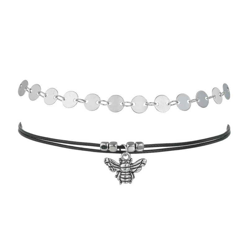 Handmade Women Ankle Bracelet Hot Sale Vintage Silver Color Bee Wafer Chain Anklets Summer Gift