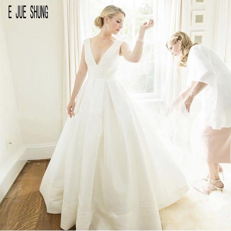 E JUE SHUNG Elegant Wedding Dresses V Neck Simple Draped Lace Up Back Satin Wedding Gowns Beach Bride Dresses Vestido De Noiva