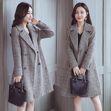 Woolen coat female long section Korean version 2019 new popular plaid autumn and winter models woolen tide ins