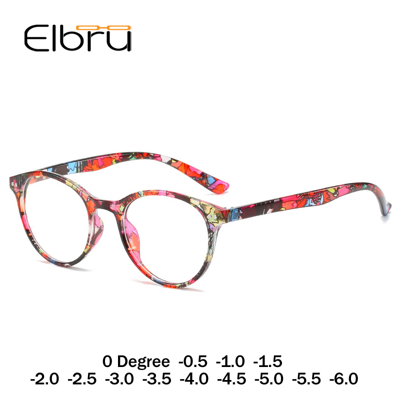 Elbru Diopter 0 To -6.0 Finished Myopia Glasses Women Floral Round Myopic Eyeglasses Nearsighted Optical Spectacle Frame Ladies