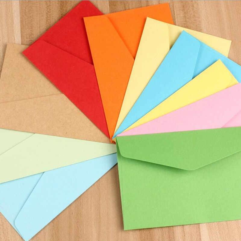 10 pçs/lote Cores Doces Em Branco Mini Envelopes de Presente Festa de Aniversário Do Casamento do Envelope Do Convite Sobres Papel Kraft Favor Festival