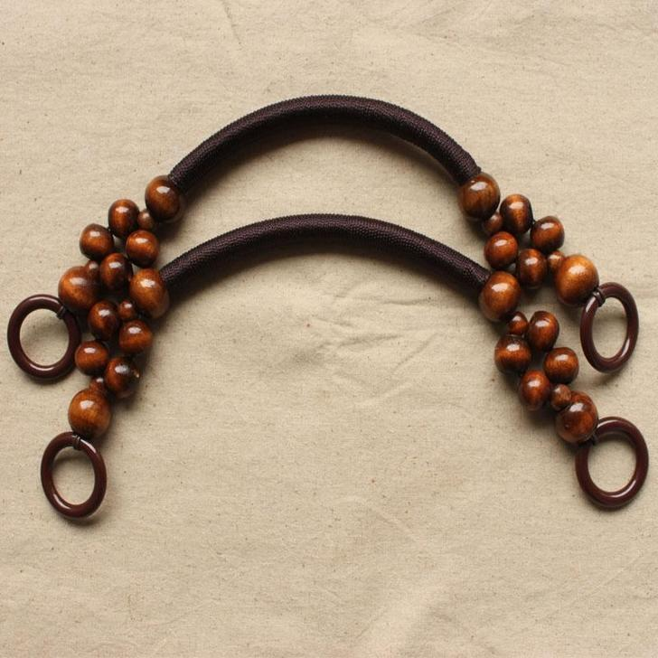 5 Pairs 19 Inches Wooden Beads Rope Handles For Bag In Three Colors China  Factory Sell Fashion Beads Rope Bag Handle