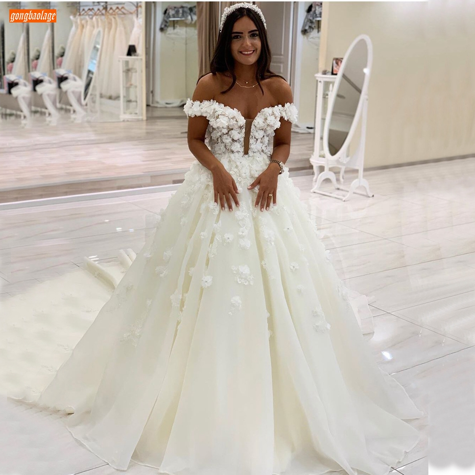 Elegant White Wedding Dress Off Shoulder Chapel Train Ball Gown Bridal Dresses Long 2020 Customized Robe De Soiree Fast Shipping