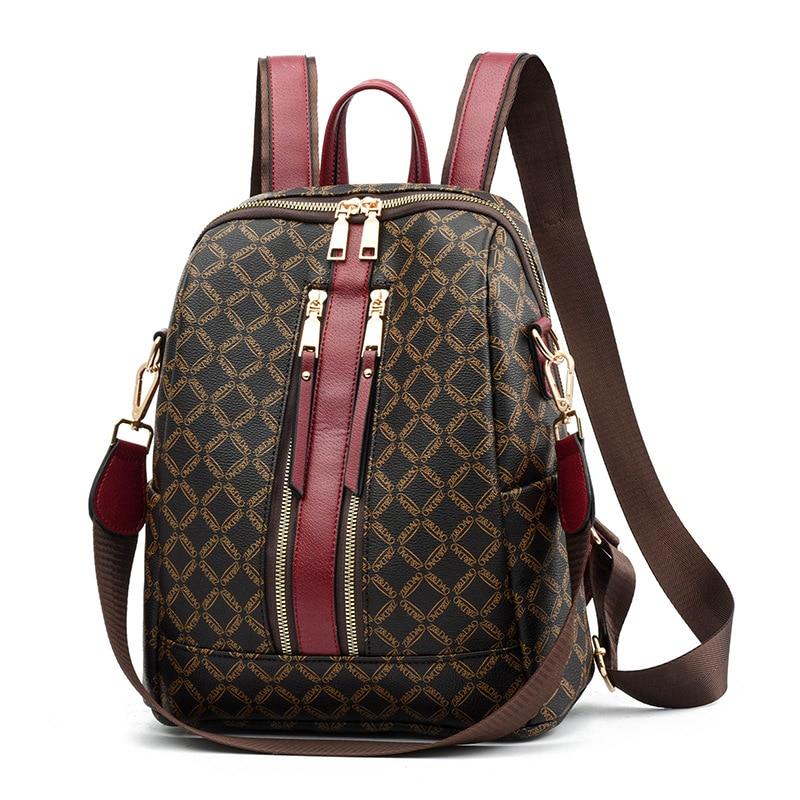 2019 Luxury Leather Backpack Women Printing Backpacks Retro Female Bag School Bags For Girls Travel Rucksack Ladies Shoulder Bag