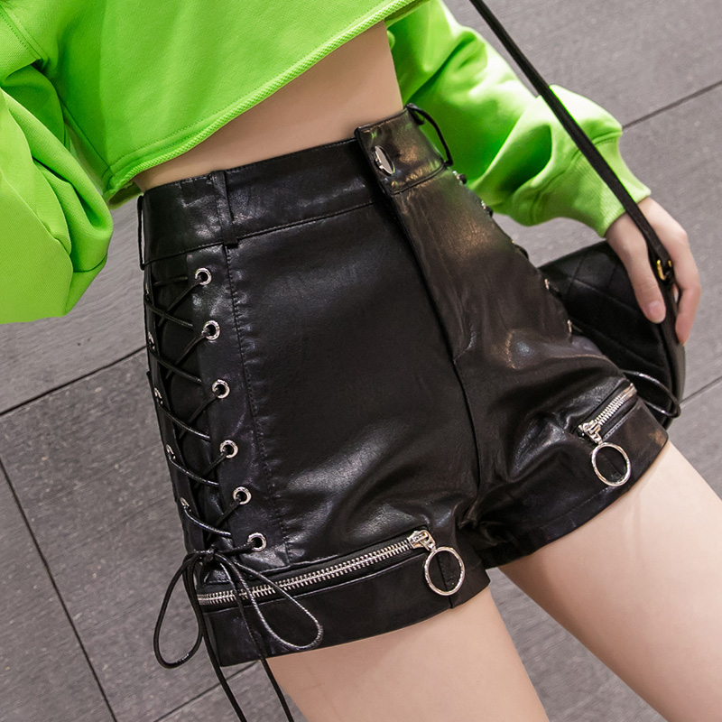 PU Leather Sided Laced-up Shorts Women Ring Zippers Fashion Empire PU Shorts Girls Faux Leather Shorts Bottoms NR8698