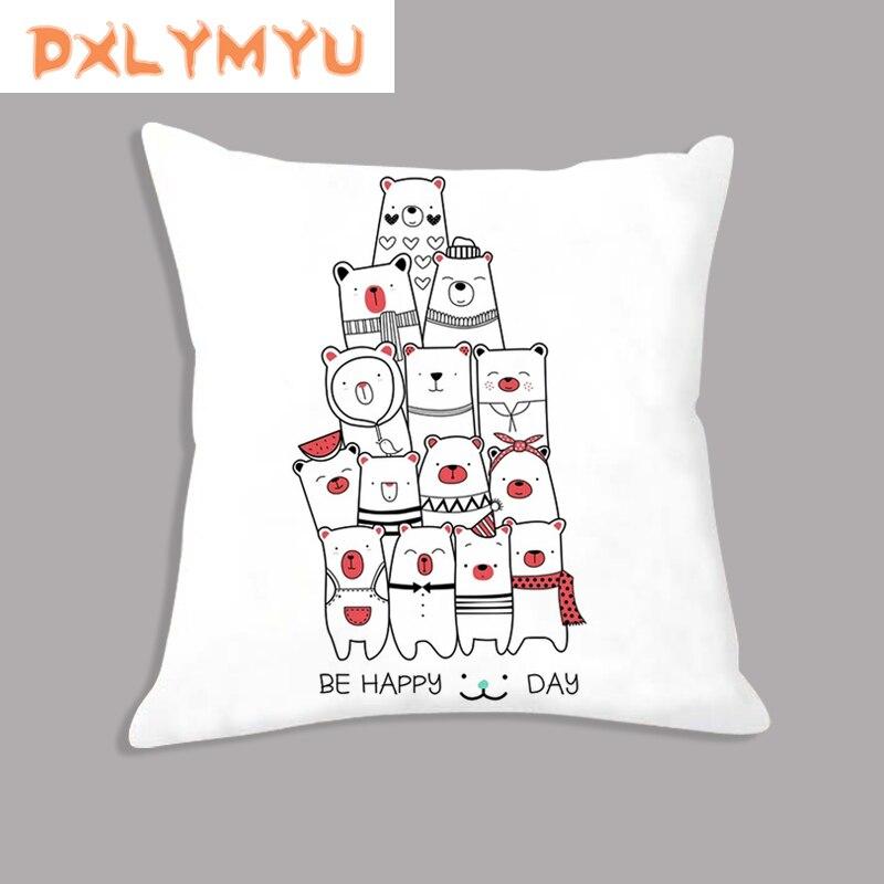 Decorative Cushion for Sofa Decor Cartoon Giraffe Lion Rabbit Bear Animals Print Cushion Nordic Throw Pillow Soft Pillowcase