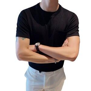 Image 5 - Мужская футболка с коротким рукавом, Повседневная облегающая Трикотажная футболка с круглым вырезом, размеры 3XL, 2020