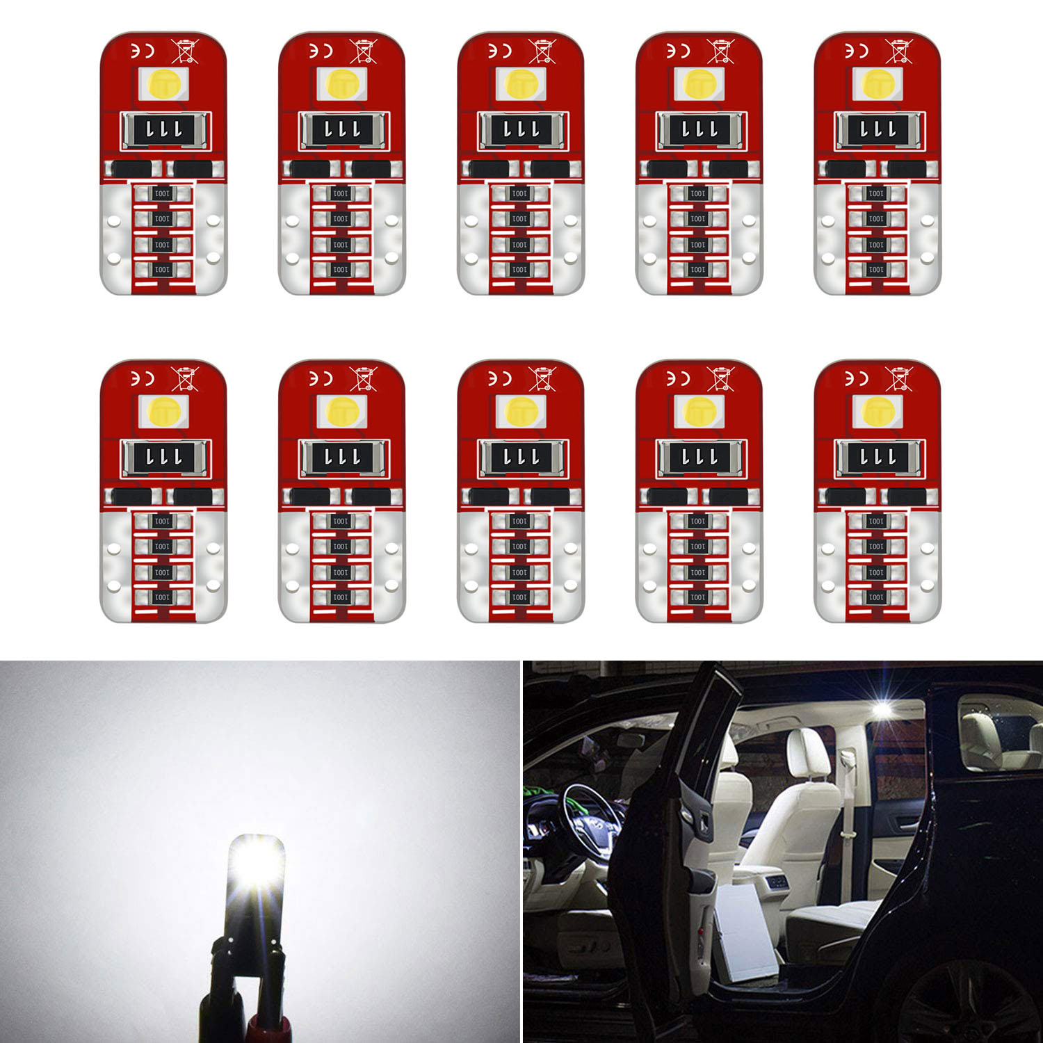 10Pcs <font><b>Canbus</b></font> <font><b>T10</b></font> W5W <font><b>LED</b></font> Bulb Car Interior Lights For Volkswagen <font><b>VW</b></font> Amarok Beetle Beetle Cabrio Cabrio Caddy CARAVELLE Clasico image