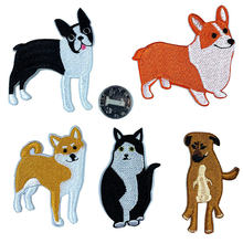 New Animal Dog Skeleton Cat Series Shiba Patches Cute Little Pastoral Dogs Chinese Embroidery Appliques Badges for Kids Stickers(China)