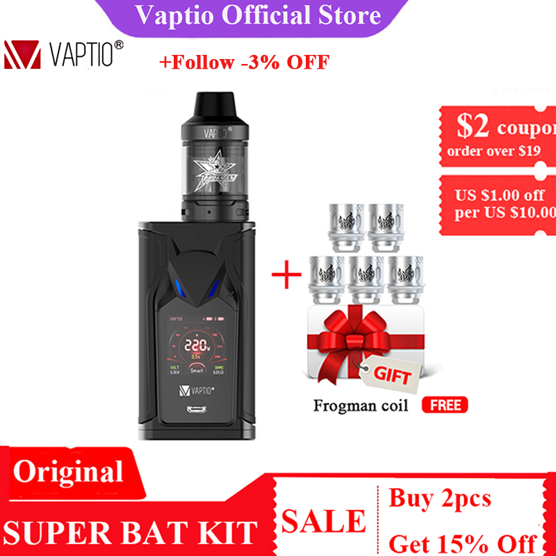 GIFT 5pcs Coils! VAPTIO SUPER BAT 220W Vape Kit Electronic Cigarettes 220W Box MOD 2.0/5.0ml Tank Vape Mod No Battery