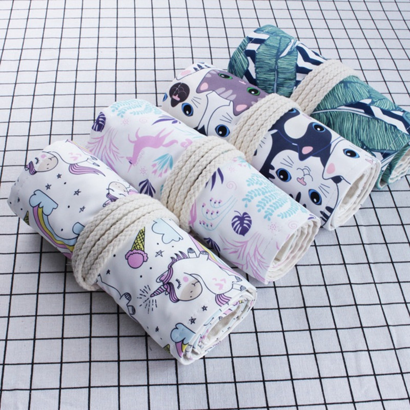 36 48 72 Holes Canvas Pencil Case Cute Cat Art Pen Bag Pouch Wrap Roll Makeup Cosmetic Brush Pen Storage Stationery Student Gift