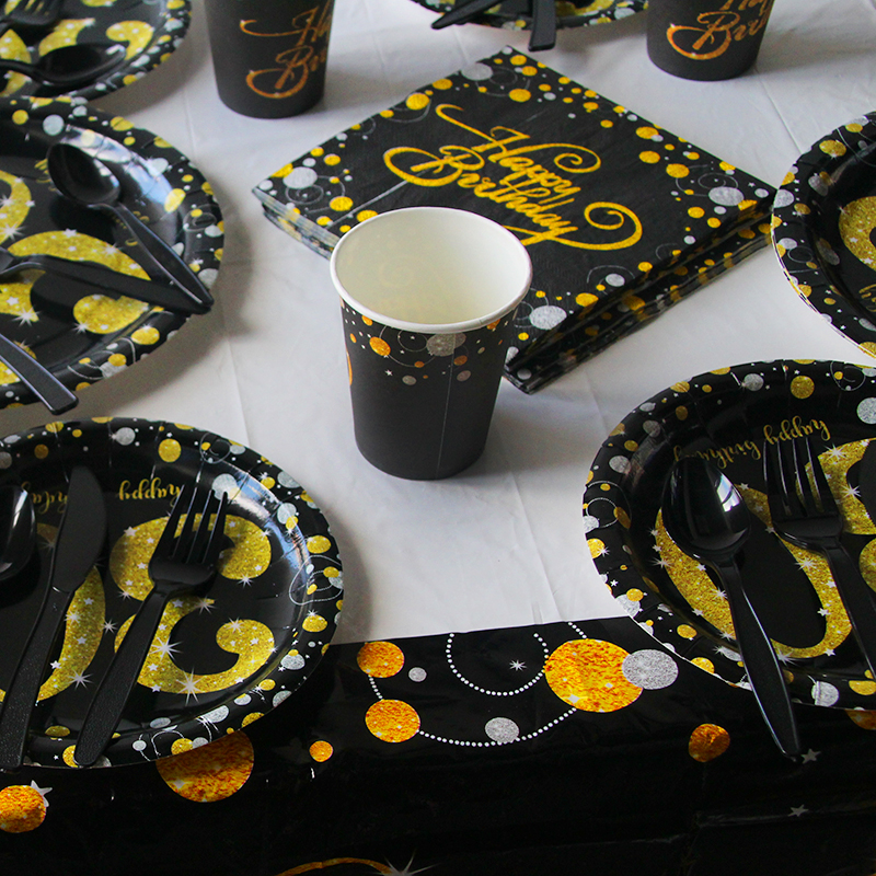 Black/Gold Party Paper 30 40 50 60 Happy Birthday Party Disposable Tableware Decorations Adult Birthday 30th 30Year Party Supply