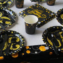 Black/Gold Party Paper 30 40 50 60 Happy Birthday Disposable Tableware Decorations Adult 30th 30Year Supply