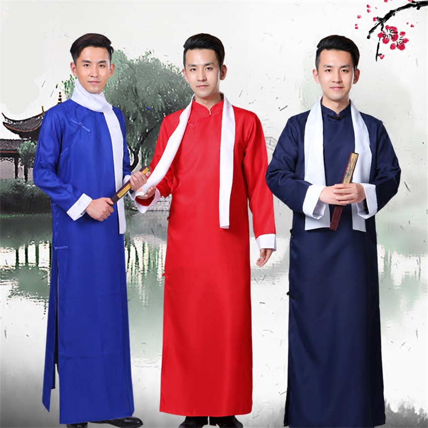 100-180CM Traditional Chinese Clothing Crosstalk Drama Robes New Year Party Stage Performance Tang Suit China Tops for Men image