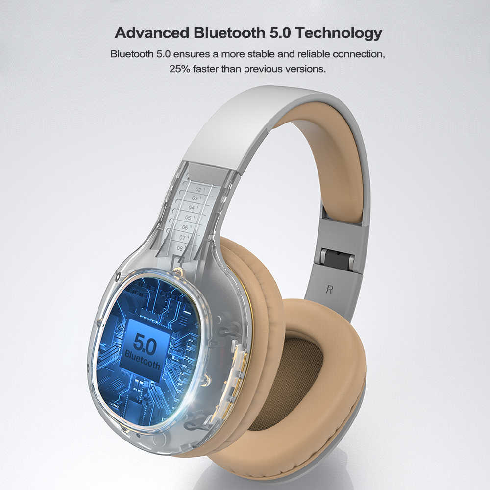 AUSDOM nowy M09 bezprzewodowy słuchawki z bluetooth radio hifi z mikrofonem obsługa karty TF składane na-uchu przewodowy zestaw słuchawkowy do iphone'a 11