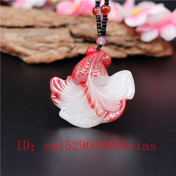 Natural Red White Chinese Jade Goldfish Pendant Beads Necklace Charm Jadeite Jewellery Fashion Carved Amulet Gifts For Women