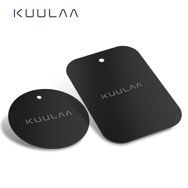 KUULAA Car Phone Holder Magnetic Plate Suit 2 Pieces Metal Plate Disk Magnet Holder Stand For IPhone Mobile Phone Car Dashboard
