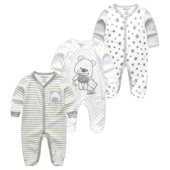 0-12Months Baby Rompers Newborn Girls&Boys 100%Cotton Clothes of Long Sheeve 1/2/3Piece Infant Clothing Pajamas Overalls Cheap - Baby Rompers RFL3120, 6M