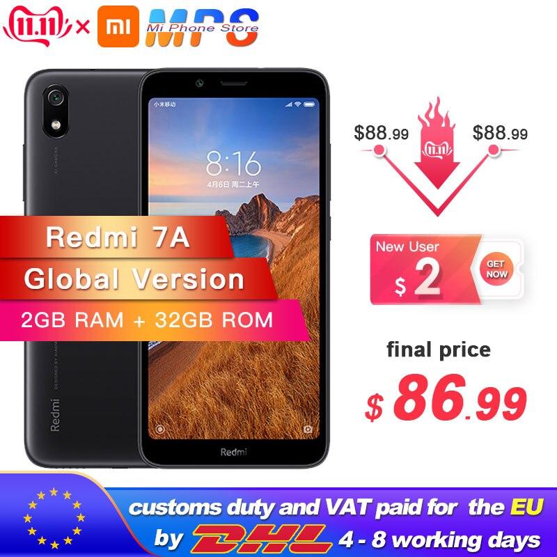 In Stock Global Version Xiaomi Redmi 7A 7 A 2GB 32GB ROM Snapdargon 439 Octa Core Mobile Phone 5.45