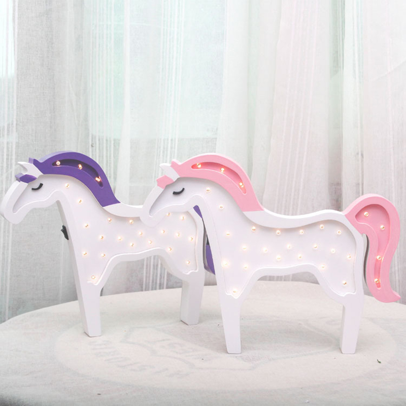 Wooden Unicorn LED Novetly Light Hangable Wall Bedside Table Lamp Horse Design Lamps Home Decoration Lights Toys Gifts For Kids