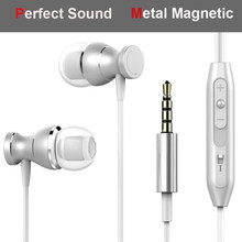 Metal Magnetic Earphone For Huawei Y9 Y7 Y3 Y5 2017 Y6 Pro Y5II Y6II Y3II Y6 II Earphones 3.5mm Jack Super Bass Earpiece(China)
