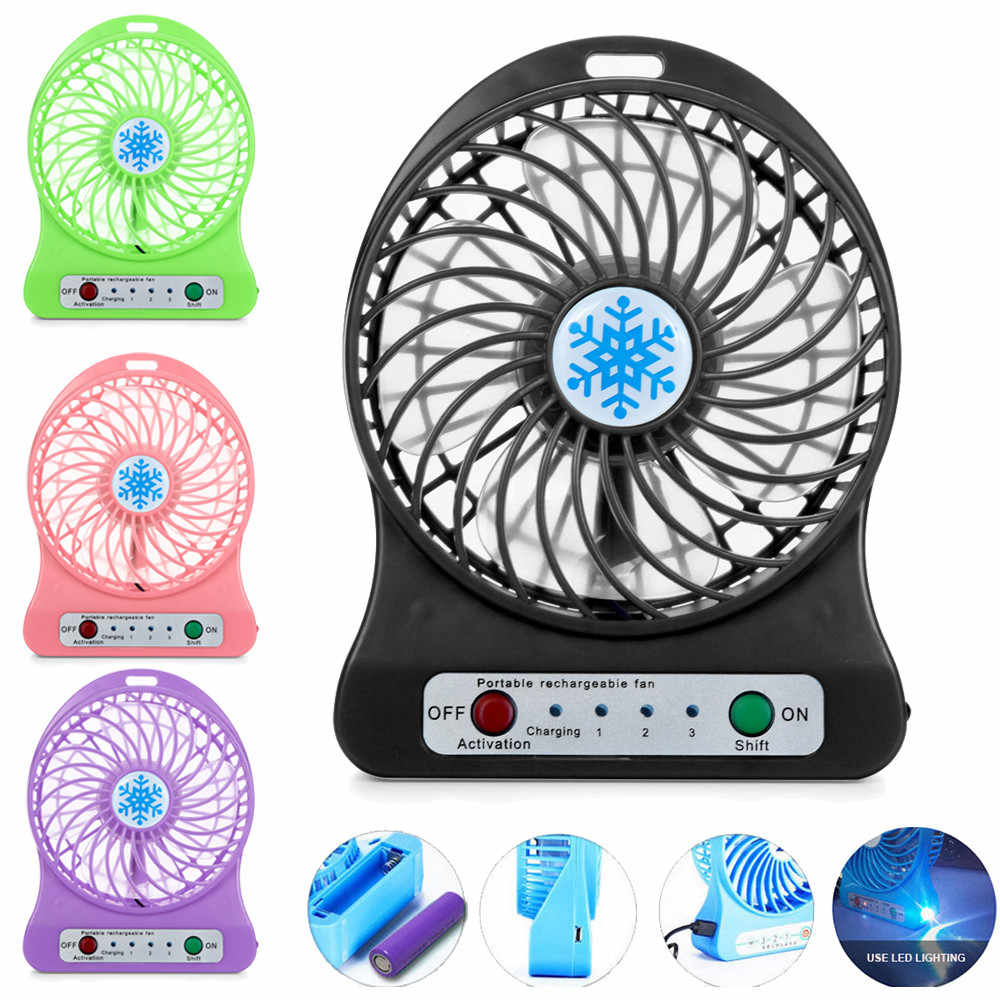 Portable Rechargeable Fan Air Cooler Mini Operated Desk USB Charging With Battey