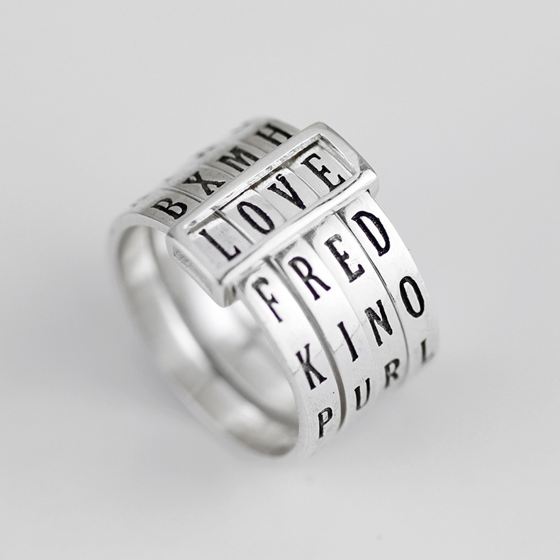 Fashion Original 925 Sterling Silver Creative Engraved English Alphabet Adjustable Combination Ring