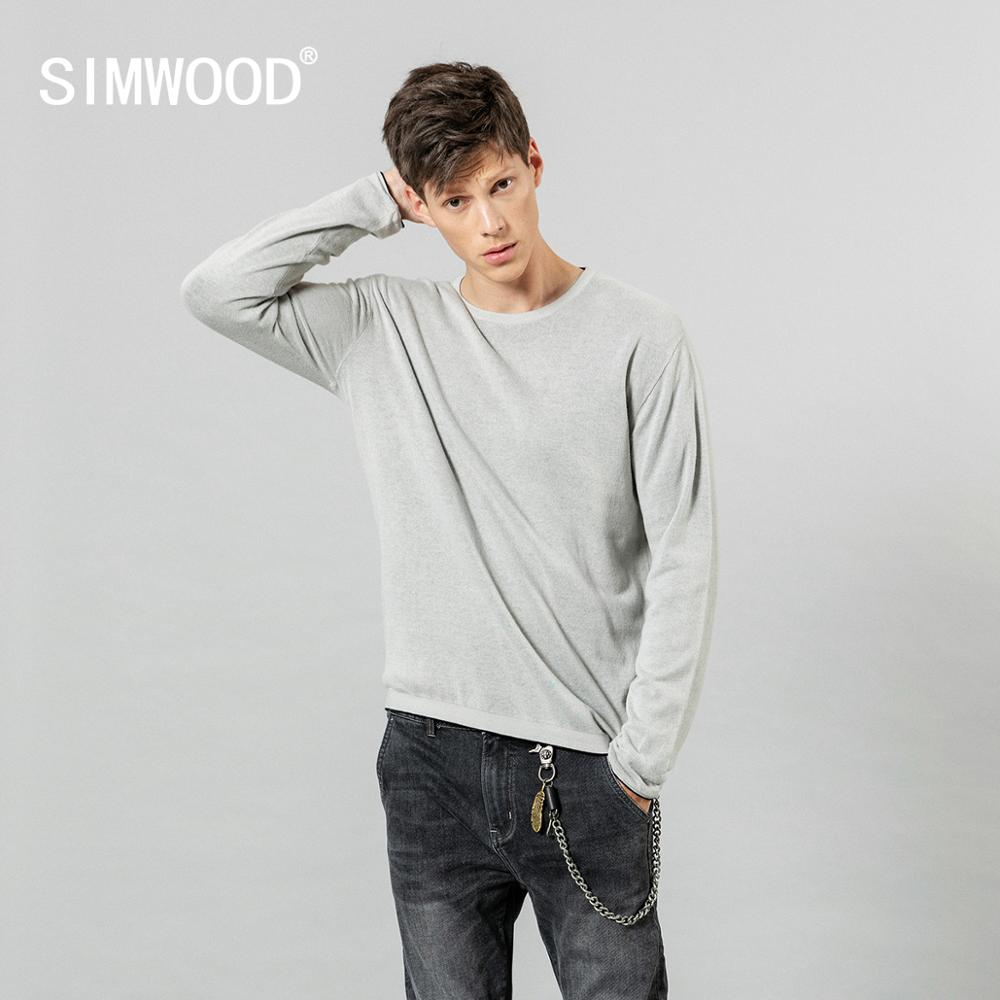 SIMWOOD 2019 Autumn Winter New Minimalist Sweater Men Causal Basic 100% Cotton Pullover Quality Anti-static Clothes SI980583