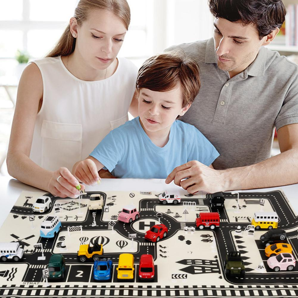 Modern 83x59cm Kids Portable Car City Scene Taffic Highway Map Play Mat Educational Toys For Children Games Road Carpet